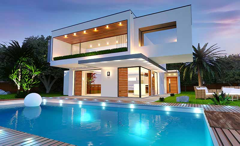 Modern House With Pool At Night