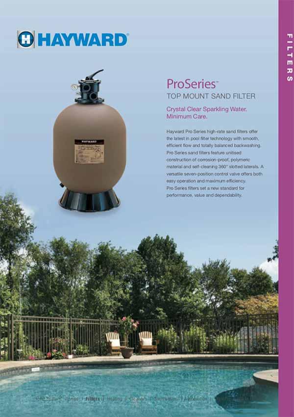 Hayward ProSeries Top Mount Pool Sand Filters Manual